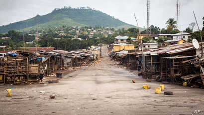An empty local market area is seen, as Sierra Leone government enforces a three day lock-down on movement of all people in a attempt to fight the Ebola virus, in Freetown, Sierra Leone, Sept. 19, 2014.