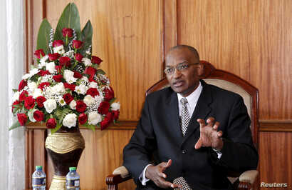 Kenya Central Bank Governor Patrick Njoroge speaks during an interview in his office in the capital Nairobi, Dec. 8, 2015.