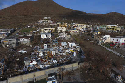 Sept. 11, 2017 photo shows storm damage in the aftermath of Hurricane Irma in the Cole Bay community of St. Martin.