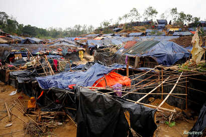 View of the Balukhali Refugee Camp after being hit by Cyclone Mora in Cox's Bazar, Bangladesh, May 31, 2017.