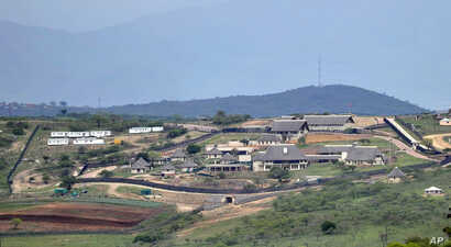 FILE - A Sept. 28, 2012, photo shows the private compound homestead of South African President Jacob Zuma in Nkandla, in the northern KwaZulu Natal province South Africa.