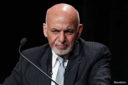 FILE - Afghanistan's President Ashraf Ghani speaks during a panel discussion at Asia Society in New York, Sept. 20, 2017.
