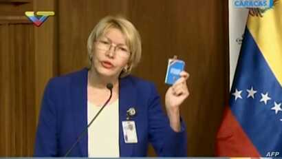 Screen grab from state-owned VTV television broadcast of Venezuela's attorney general Luisa Ortega speaking during the release of her 2016 annual report in Caracas, March 31, 2017.