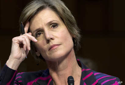 FILE - Deputy Attorney General Sally Quillian Yates listens while testifying on Capitol Hill in Washington, Oct. 19, 2015.