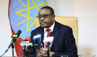 Ethiopian Prime Minister Hailemariam Desalegn, during press conference in Addis Ababa, Ethiopia,  Feb. 15, 2018.  Desalegn announced that he has submitted a resignation letter.