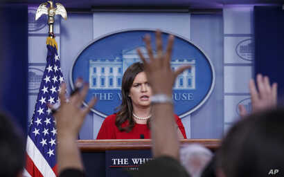 White House press secretary Sarah Sanders speaks during the daily news briefing at the White House, in Washington, May 3, 2018.
