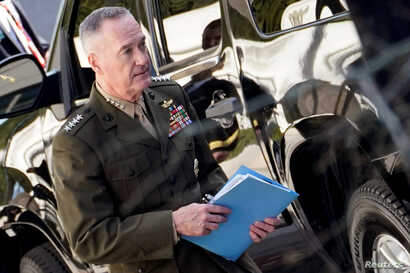 Chairman of the Joint Chiefs of Staff General Joseph Dunford leaves the White House after a meeting with U.S. President Donald Trump regarding Syria, in Washington, April 12, 2018.