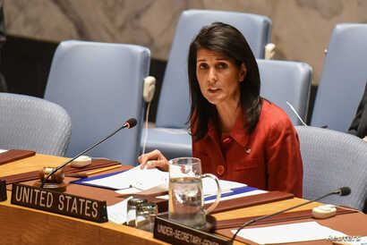 United States Ambassador to the United Nations Nikki Haley delivers remarks at the Security Council meeting on the situation in Syria at the United Nations Headquarters in New York, April 7, 2017.