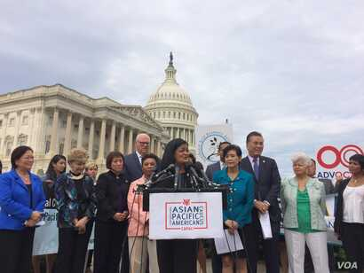 Representative Pramila Jayapal is one of many democratic lawmakers pushing for a Dream act to pass in Congress. (Photo: E. Sarai/VOA)