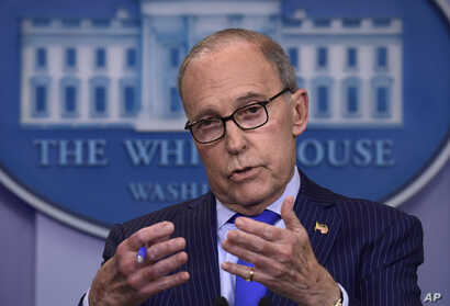 Senior White House economic adviser Larry Kudlow speaks during a briefing at the White House in Washington, June 6, 2018.