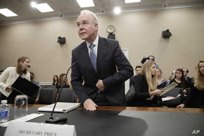 FILE - Health and Human Services Secretary Tom Price, a doctor and former congressman, arrives on Capitol Hill in Washington, March 29, 2017, to testify before a House Appropriations subcommittee hearing to outline the Trump Administration's proposal...