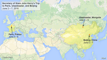 John Kerry will travel to Paris, Ulaanbaatar, and Beijing, June 2-7