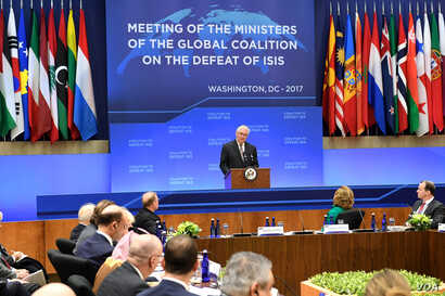 U.S. Secretary of State Rex Tillerson delivers opening remarks at the Meeting of the Ministers of the Global Coalition on the Defeat of ISIS at the U.S. Department of State in Washington, D.C., March 22, 2017.