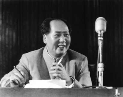FILE - Chairman Mao Zedong at general assembly of the Chinese communist party in March 1955.