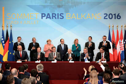 Leaders from the European Union and Balkan states meet during a western Balkans summit in Paris, July 4, 2016.