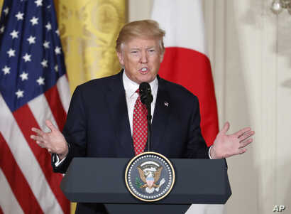 President Donald Trump speaks during a joint news conference with Japanese Prime Minister Shinzo Abe, in the East Room of the White House in Washington, Feb. 10, 2017.