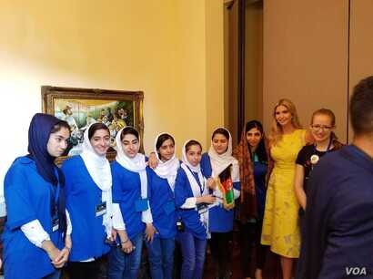 Ivanka Trump, second from right, the daughter and adviser of U.S. President Donald Trump, meets with the all-girls Afghan robotics team in Washington. (Photo courtesy of the Embassy of Afghanistan)