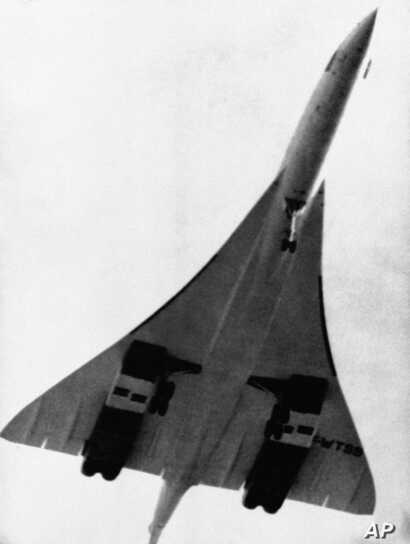 Anglo–French Concorde supersonic airliner after taking off from Toulouse Blaganac Airport in France, March 2, 1969, on its maiden flight.