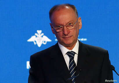 FILE - Nikolai Patrushev, the Secretary of Russia's Security Council, attends the annual Moscow Conference on International Security (MCIS) in Moscow, Russia, April 4, 2018.