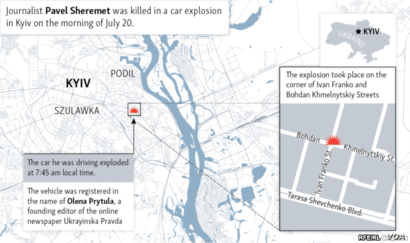 Location of car bombing that killed Ukraine journalist Pavel Sheremet on July 20, 2016.