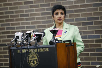 Dr. Lakshmi Kode Sammarco speaks during a news conference regarding the circumstances surrounding the death of 22-year-old University of Virginia undergraduate student Otto Warmbier who was serving a 15-year prison term in North Korea, Sept. 27, 2017...