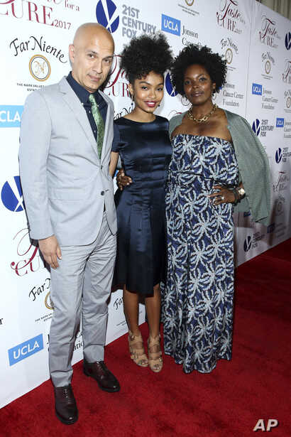 FILE - Afshin Shahidi, from left, Yara Shahidi and Keri Shahidi attend an event in Beverly Hills, Calif., April 28, 2017.