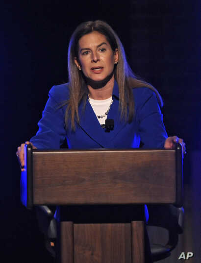 Democratic candidate for U.S. Senate, former Connecticut Secretary of the State Susan Bysiewicz, speaks during a debate in Storrs, Conn., April 9, 2012.