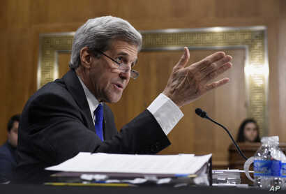 Secretary of State John Kerry testifies on Capitol Hill in Washington at the Senate Foreign Relations Committee's hearing on the State Department's fiscal 2017 budget request, Feb. 23, 2016.