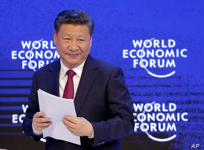 China's President Xi Jinping looks on at the World Economic Forum in Davos, Switzerland, Jan. 17, 2017.