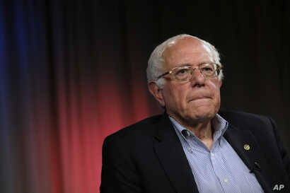 Democratic presidential candidate Sen. Bernie Sanders, I-Vt., listens to a question during an interview with The Associated Press, May 23, 2016, in Los Angeles.