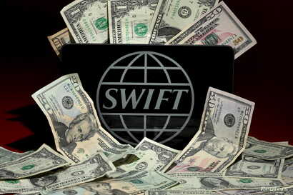 The Swift bank logo is pictured in this photo illustration taken April 26, 2016.