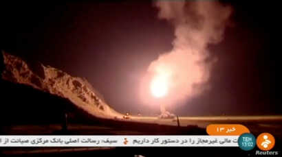 A still image taken from footage shot on June 18, 2017 and broadcast on Iranian Television IRINN, purports to show missiles being fired from Iran into eastern Syria.