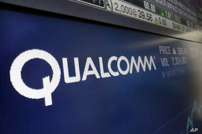 FILE - The logo for Qualcomm appears on a screen at the Nasdaq MarketSite, in New York