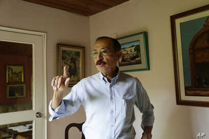 Hugo Torres, a guerrilla commander who once fought with Ortega during Nicaragua's 1979 revolution, gives an interview in Managua, Nicaragua, July 26, 2018. The retired general broke with Ortega two decades ago and now is vice president of the opposit...