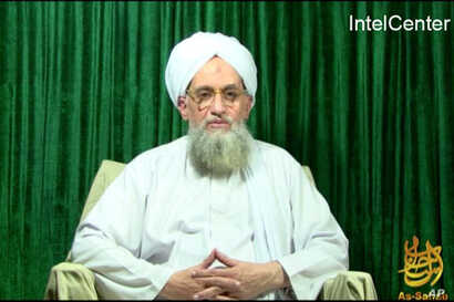 This still image from video obtained courtesy of IntelCenter shows Al-Qaeda leader Ayman al-Zawahiri appearing in a new Al-Qaeda video released October 11, 2011.