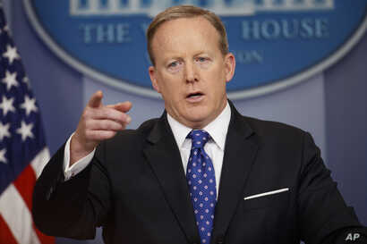 White House press secretary Sean Spicer speaks during the daily press briefing, May 9, 2017, at the White House in Washington.