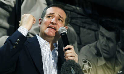 Republican presidential candidate Sen. Ted Cruz of Texas calls upon his supporters get out the vote during Mississippi's primary Tuesday, during a campaign stop in Florence, Miss., March 7, 2016.