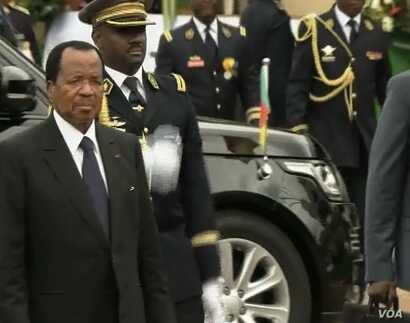 Cameroon President Paul Biya arrives at the May 20 Boulevard for National Day celebrations, in the Yaounde, Cameroon, May 20, 2018.