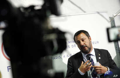 Italian Interior Minister and Vice Premier Matteo Salvini attends a press conference during the G-7 Interior Ministers meeting in Paris, April 4, 2019.