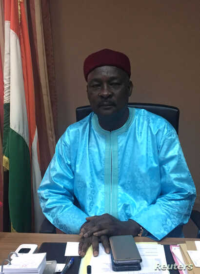Niger Defense Minister Kalla Mountari poses in his office  in Niamey, Niger, Nov.1, 2017.