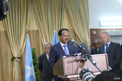 Somalia's newly-elected president, Mohamed Abdullahi Mohamed, known as Farmajo, speaks about the drought during a joint news conference in Mogadishu with U.N. Secretary-General Antonio Guterres, March 7, 2017. (Photo: Abdulkadir Mohamed Abdulle)