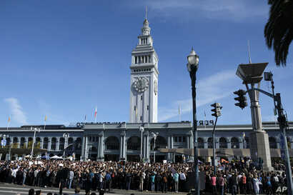 Google employees fill Harry Bridges Plaza in front of the Ferry Building during a walkout, Nov. 1, 2018, in San Francisco. Hundreds of Google employees around the world briefly walked off the job Thursday in a protest against what they said is the te...