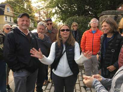 Lise Marlowe's historical tour of Cheltenham took members of Cheltenham High's class of '67 to what was the entrance to Camp William Penn. The cobblestones are all that remain of the camp.