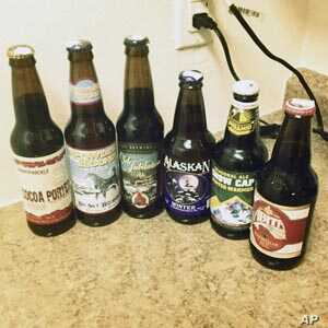 Here's a sampling of wintertime beers. Note the one on the left. It's a stout, which is already heavy and dark before flavoring is added.