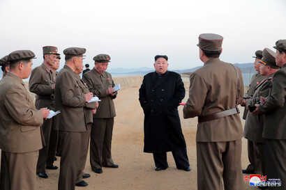 North Korean leader Kim Jong Un leads the testing of a newly developed tactical weapon, in this undated photo released on Nov. 16, 2018, by North Korea's Korean Central News Agency (KCNA).
