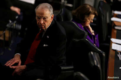 Senate Judiciary Committee Chairman Chuck Grassley, R-Ia., and the panel's ranking Democrat, Senator Dianne Feinstein of California,  preside over Supreme Court nominee Neil Gorsuch's confirmation hearing on Capitol Hill, March 22, 2017.