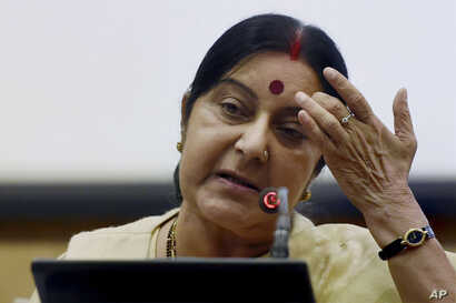 Indian External Affairs Minister Sushma Swaraj addresses a press conference in New Delhi, India, June 19, 2016.