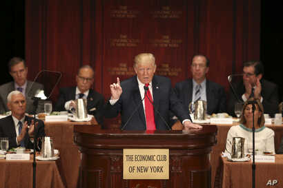 Republican presidential candidate Donald Trump delivers an economic policy speech at a luncheon at the Economic Club of New York in New York City, Sept. 15, 2016.