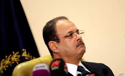 """FILE -- Egyptian Interior Minister Magdy Abdel-Ghaffar appears live on state and private television, in Cairo, Egypt, March 6, 2016. Abdel-Ghaffar warned of a """"conspiratorial scheme"""" by the now-banned Muslim Brotherhood to incite chaos, in comme..."""
