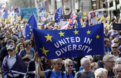 Anti-Brexit campaigners carry flags and banners as they march toward Britain's Parliament in London, March 25, 2017. Britain's Prime Minister Theresa May is expected to start the process of leaving the European Union on March 29.